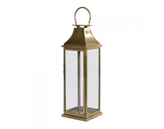 Antiqued Brass Tall Lantern