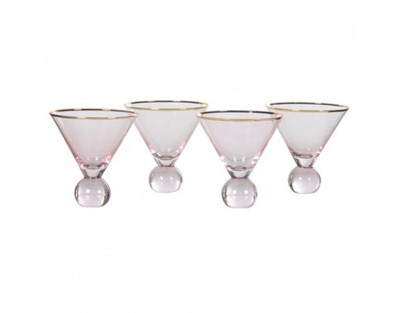 Set of 4 Pink and Gold Bobble-Bottom Martini Glass
