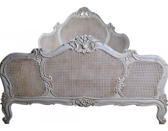 Antique White French Louis XV Rattan BedCrown French Furniture