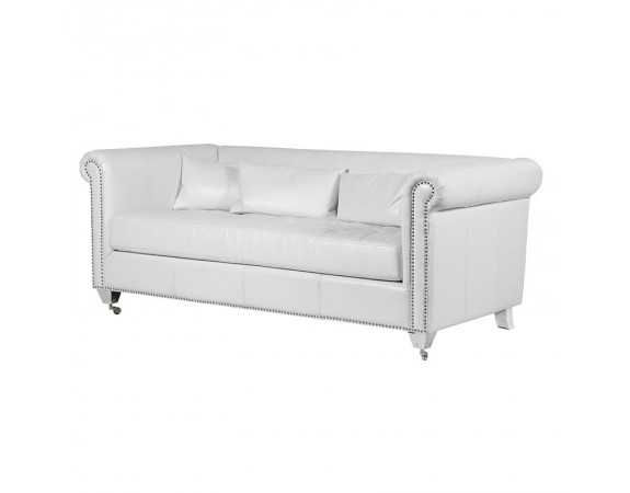 White Leather Sofa with Studs