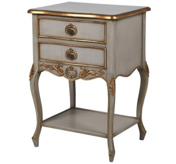 Loire Light Grey Bedside with Gold Detail