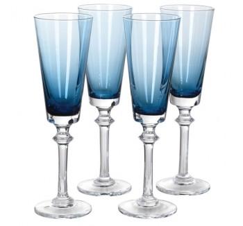 Set of 4 Blue Tint Flute Glasses