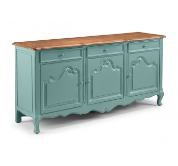 Alsace Heavy Distressed Turquoise 3 Door Sideboard
