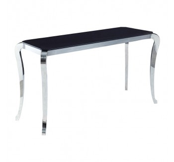 "Black ""Marble"" Top French Console Table"