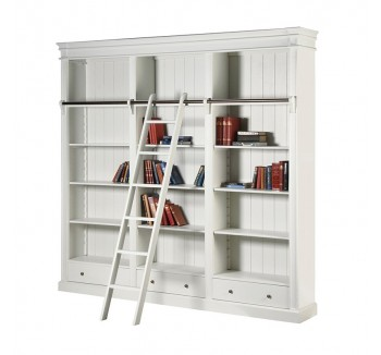 Ashwell Classic White French Large Bookcase with Ladder