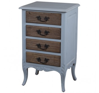 Louis French 4 Drawer Bedside Table