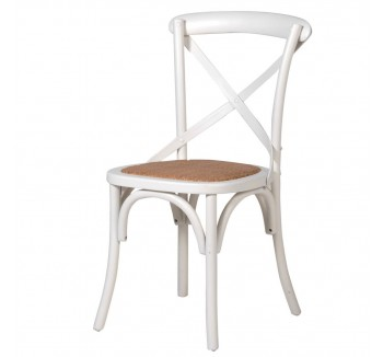 Cream Cross Back Dining Chair