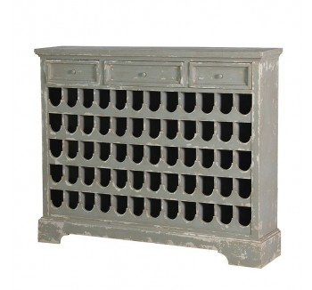 Grey Distressed 60 Bottle Wine Rack With Drawers