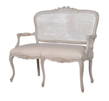 French White 2 Seater Rattan Sofa