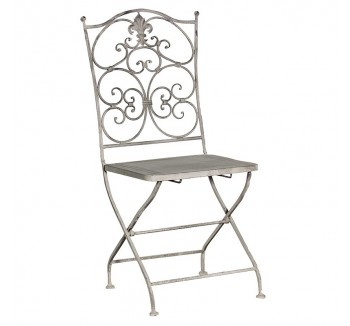 Grey-Wash Metal Folding Garden Chair