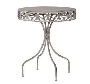 Grey-Wash Round Metal Garden Table