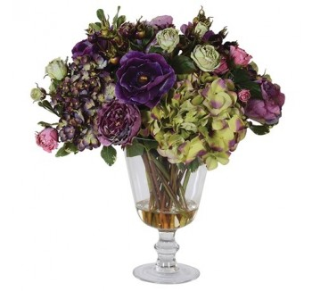 Mixed Amethyst and Green Floral Arrangement in Glass Urn Vase