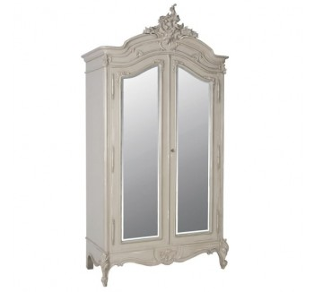 Loire Light Grey 2 Door French Mirrored Armoire