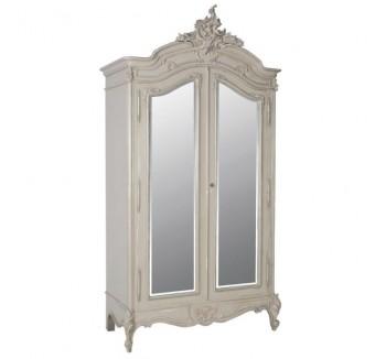 Loire Light Grey 2 Door French Mirrored Armoire