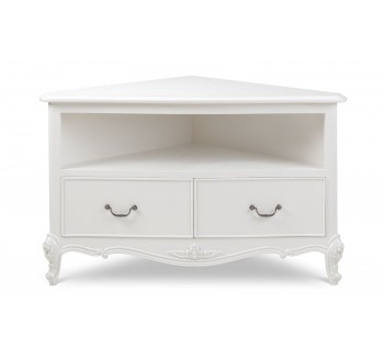 Ivory French Inspired Corner TV Cabinet
