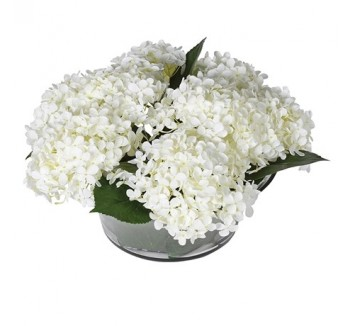 White Hydrangea Annabelle Arrangement in Leaf Glass Bowl