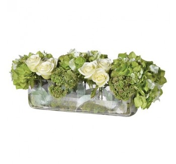 Lime/Cream Hydrangea/Rose/Seedum Arrangement in Low Oblong Glass Vase