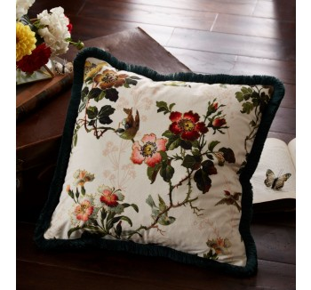 Oasis Leighton Ivory Velvet Cushion