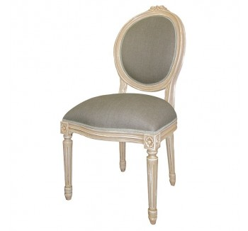 Loire Light Grey French Dining Chair with Linen Fabric