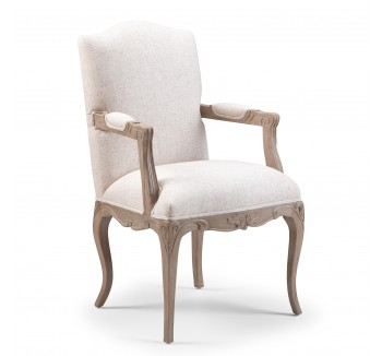 Louis Upholstered Armchair / finished in Alden Ceruse & Vintage cream linen fabric