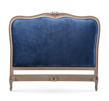 Louis French Upholstered Headboard / Finished in Alden Ceruse frame & Ashton Midnight Navy fabric
