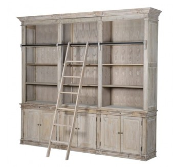 Lustre Natural Wood Bookcase with Ladder