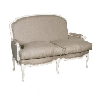 Provencale Antique White French Linen 2 Seat Sofa