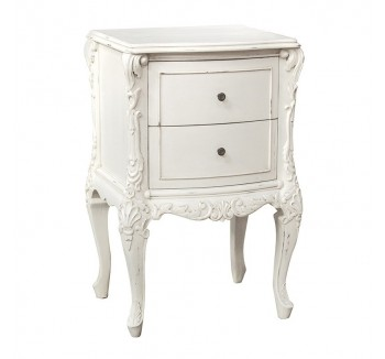 Antique White Provencale Painted Small 2 Drawer Bedside