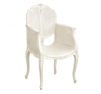 Provencale Antique White French Chair With Rattan