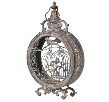 Round Metal Lantern with Birdcage