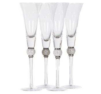 Set of 4 Silver Diamante Ball Champagne Glasses