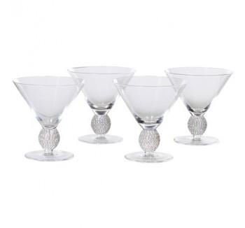 Set of 4 Silver Diamante Cocktail Glasses
