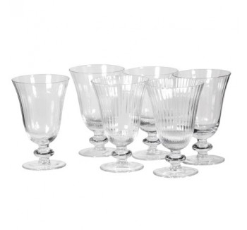 Set of 6 Ribbed Wine Glasses