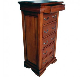 Sleigh Chest of 6 Drawers - Mid Mahogany