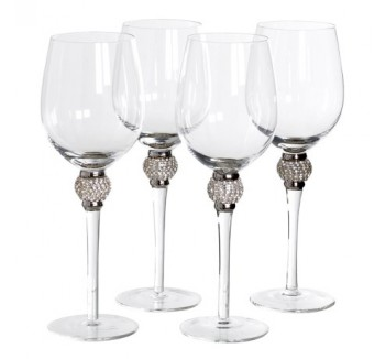 Set of 4 Silver Crystal White Wine Glasses