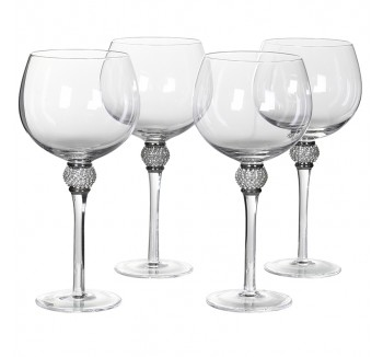 Set of 4 Silver Crystal Gin Glasses