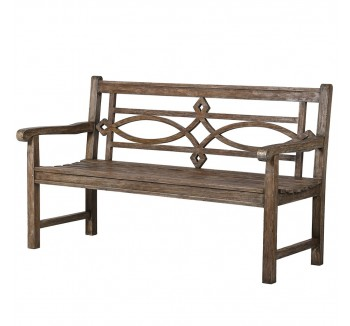 Ornate Carved Teak Outdoor Bench