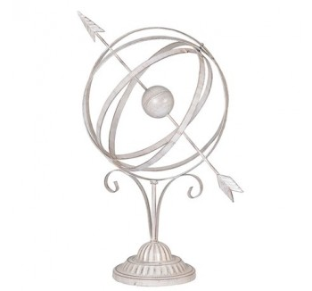 White Wash Armillary Sphere