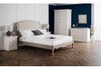 French Oak Upholstered Curved Bed