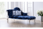 Antique White Provencale French Chaise with velvet blue upholstery