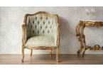 Versailles Green / Gold French Armchair