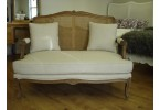 Louis Sofa in Vintage Creme Linen Fabric