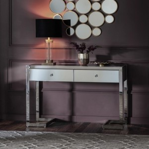 Tapered Leg Mirrored Console Table