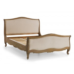Etienne Weathered Oak French Upholstered Bed