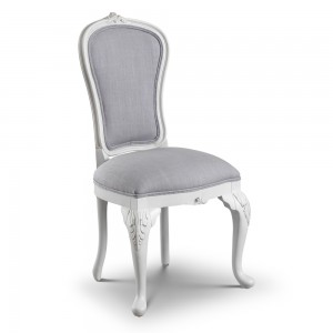 Antique White Chateau French Ribbon Armchair Linen Upholstered