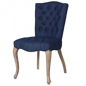 Purple Chrome Upholstered Dining Chair with Jewelled Buttons
