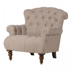 Cream Linen Button Back French Armchair