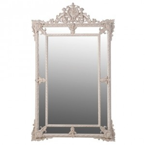 Medium Silver Rectangular Mirror French Style
