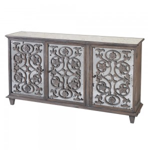 Etienne Heavy Distressed Turquoise 3 Door Sideboard