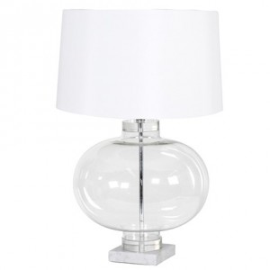 French Style Glass Urn Lamp With Linen Shade